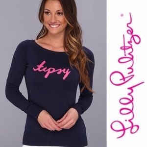 """LILLY PULITZER Navy Marielle """"Tispy"""" Sweater Small"""